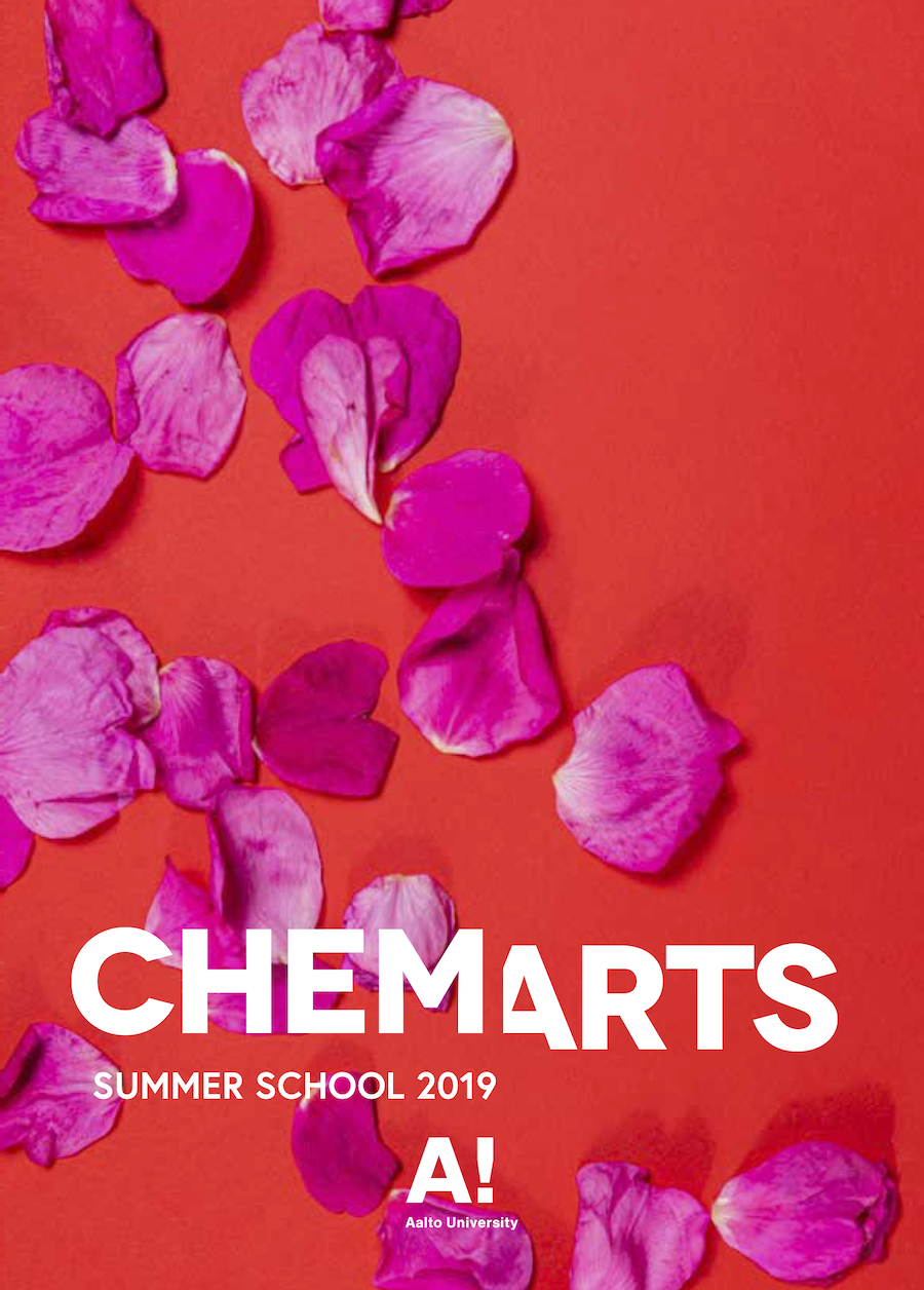 Catalogue cover of CHEMARTS, rose petals on a red background